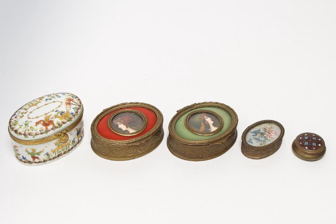 5 Vintage Lady's Dresser Boxes, incl. Bronze