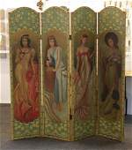 Folding Screen HandPainted Victorian Beauties