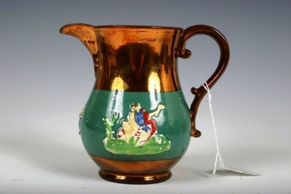 13: English Lusterware Jug with Relief Figures c1860