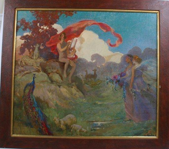 20: Early 20th c Oil on Board Allegorical Landscape