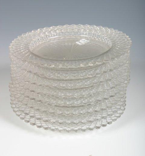 24: Set of 8 Cut Glass Saucers c1920s