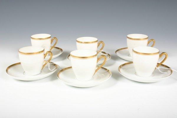 26: Set 6 Bavarian H & Co Selb Espresso Cups & Sauce