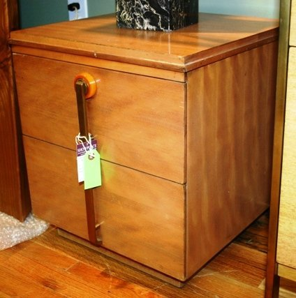 142: Pr. Modern End Tables with Bakelite & Brass Pulls