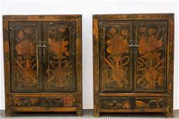 Chinese Qing Antique Black Lacquer Cabinets