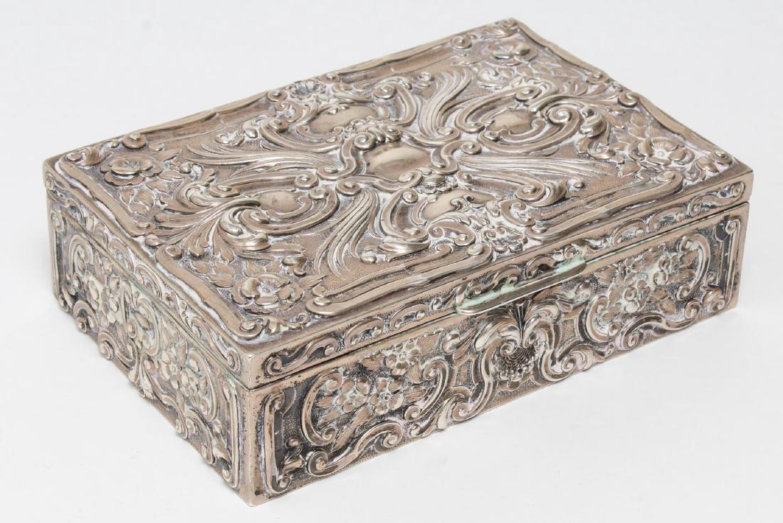 Portuguese Silver Trinket Box, Rococo-Style