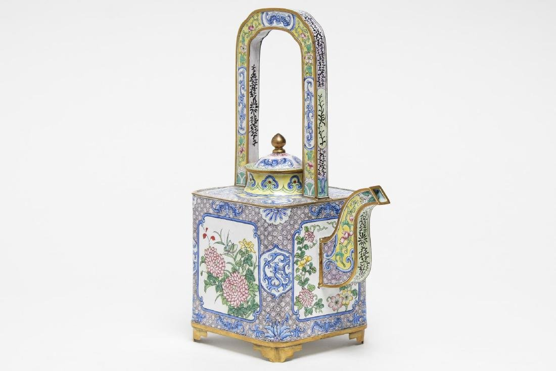 Chinese Canton Enameled Brass Tea Pot