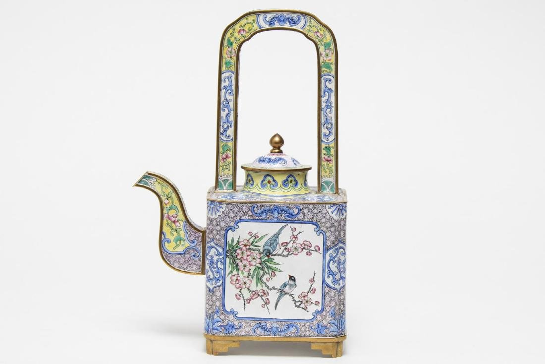 Chinese Canton Enameled Brass Tea Pot - 3