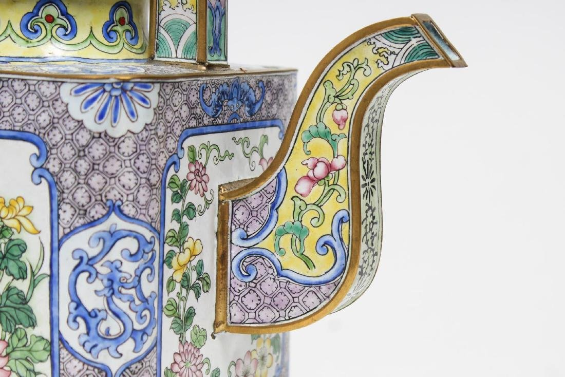 Chinese Canton Enameled Brass Tea Pot - 5
