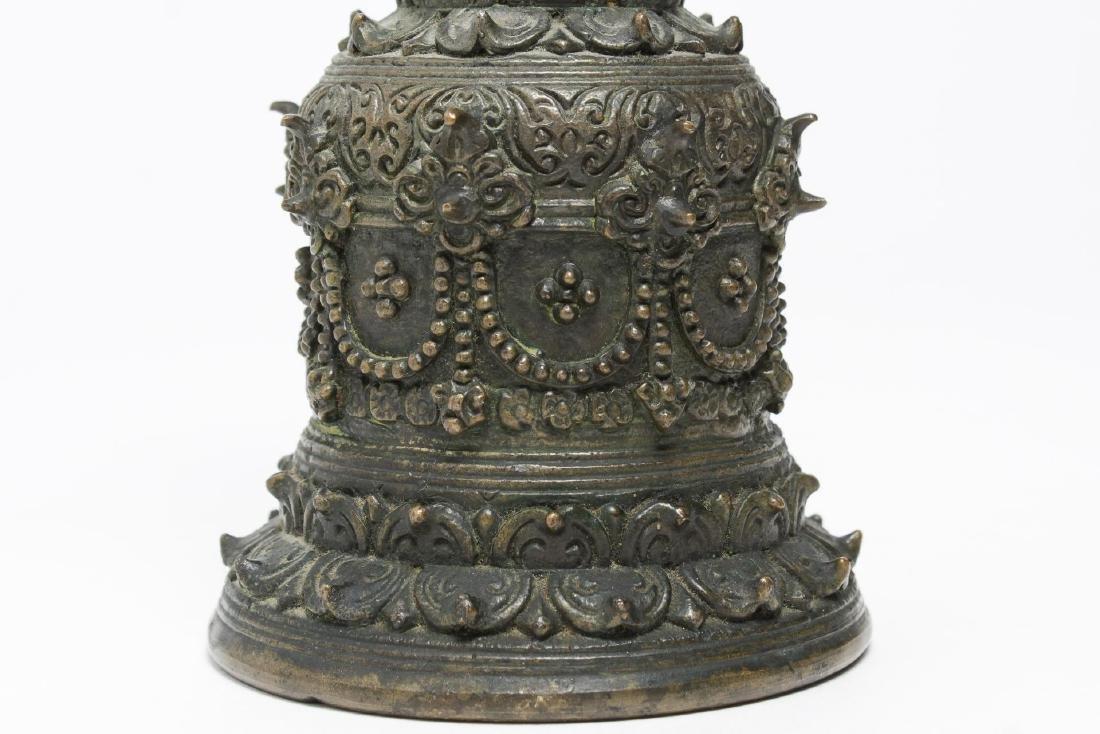 Tibetan Cast Bronze Bell with Open Vajra, Antique - 2