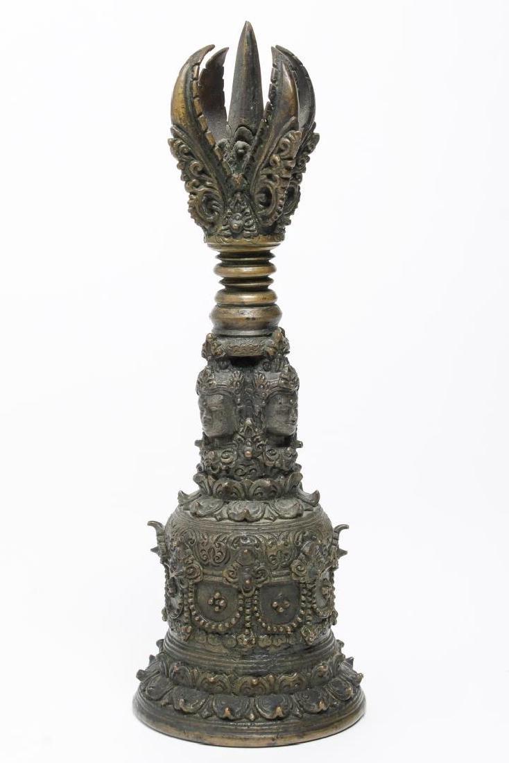 Tibetan Cast Bronze Bell with Open Vajra, Antique - 4