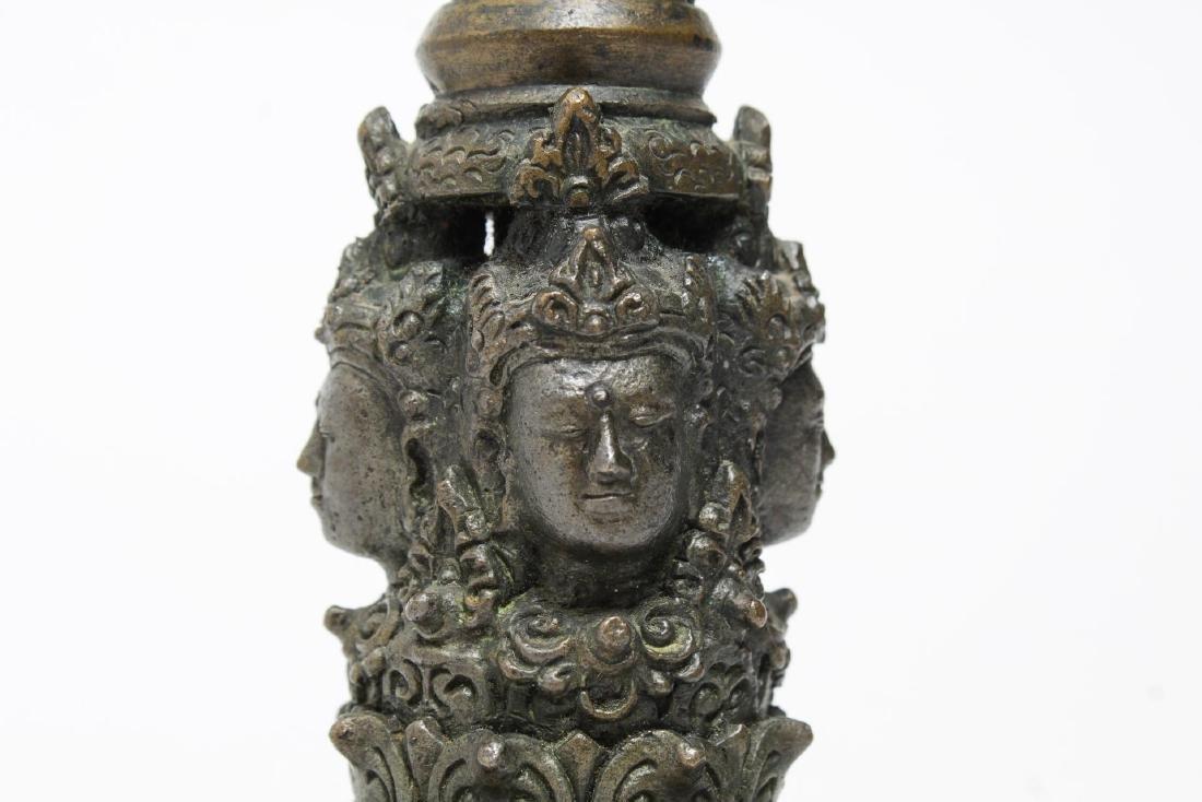 Tibetan Cast Bronze Bell with Open Vajra, Antique - 5