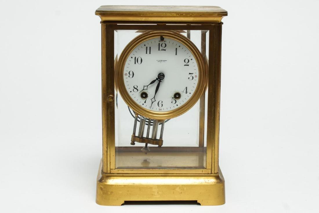 William Wise & Son Gilt Brass Mantel Clock, 20th C