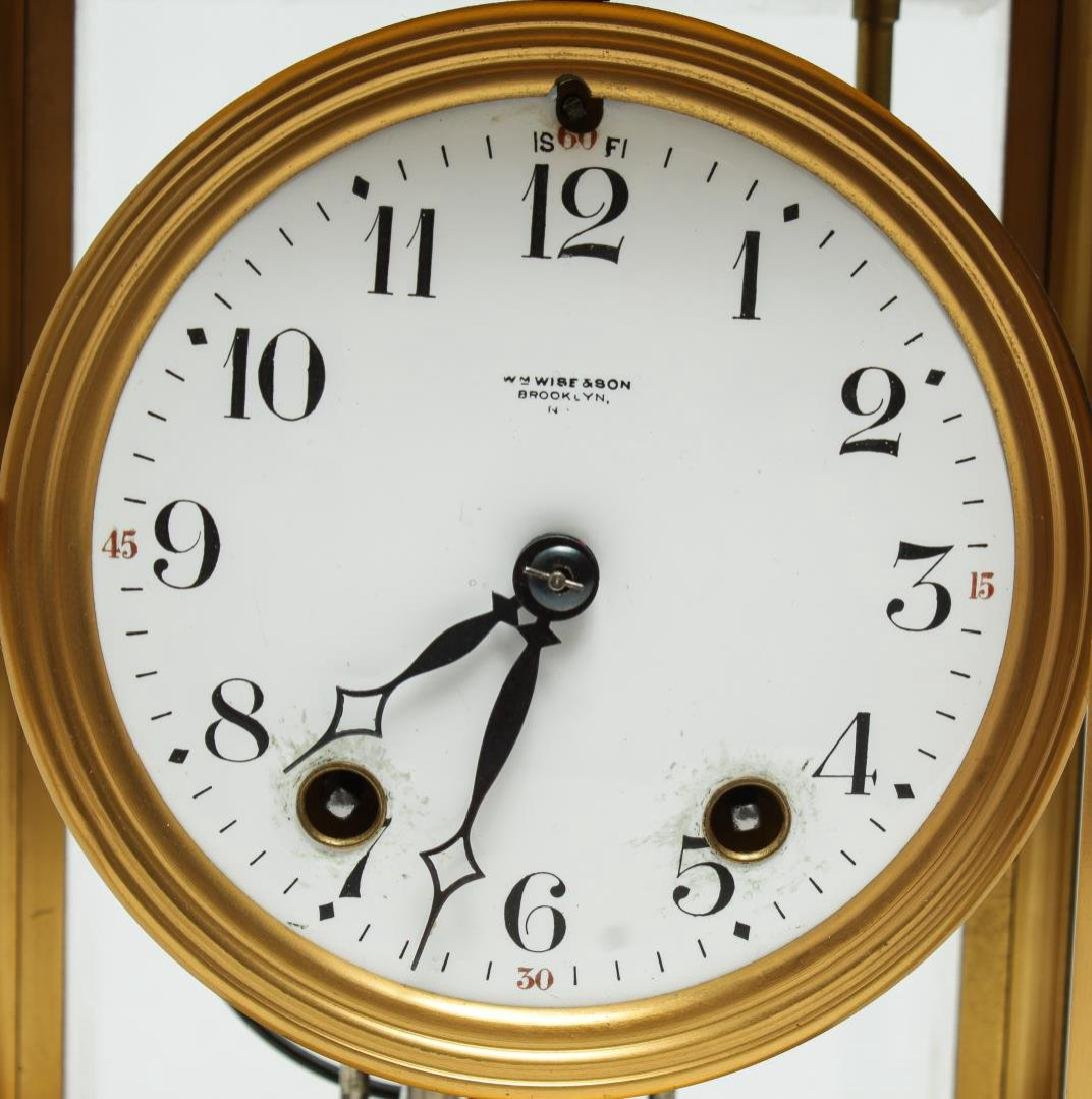 William Wise & Son Gilt Brass Mantel Clock, 20th C - 3