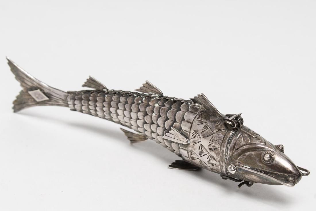 Judaica Silver Fish Spice Box, 19th Century