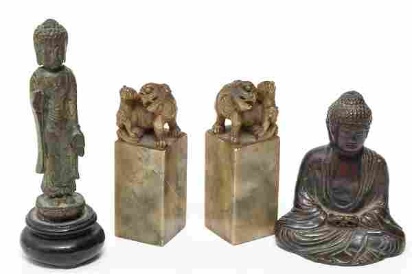 Chinese Bronze & Carved Hardstone Group, 4 Items