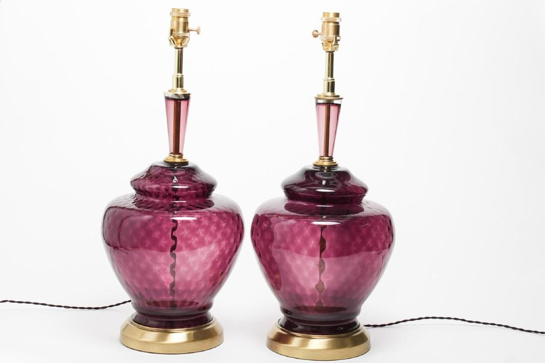 Italian Murano Amethyst Glass Table Lamps, Pair