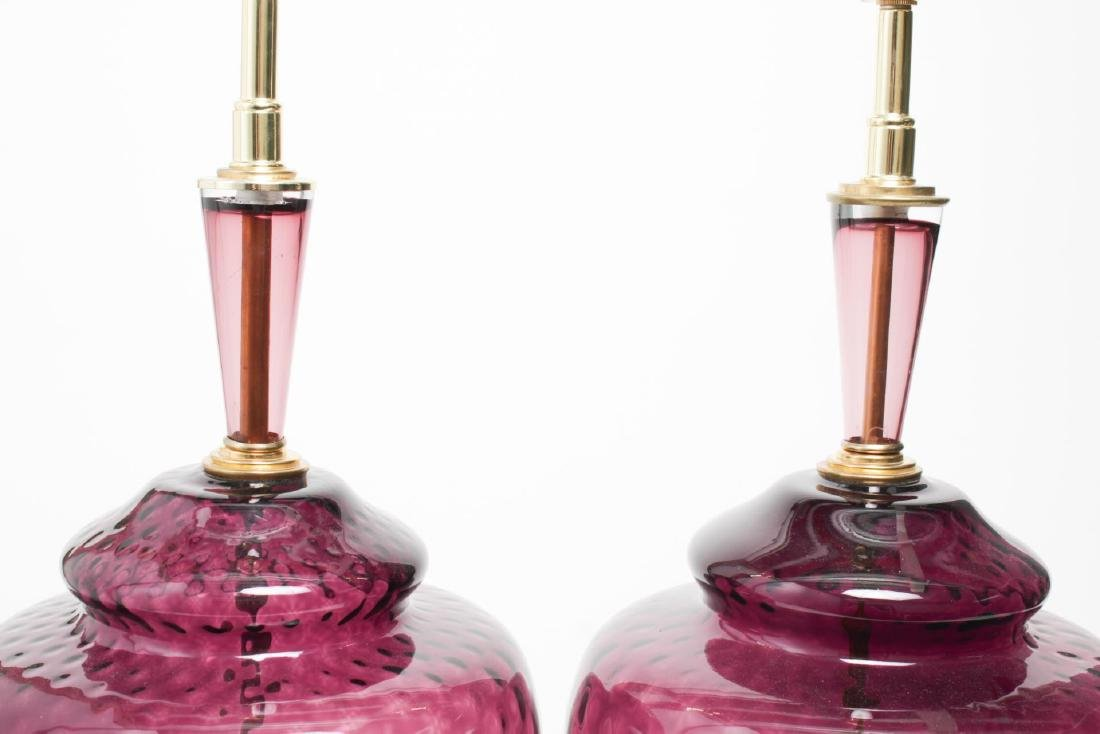Italian Murano Amethyst Glass Table Lamps, Pair - 2