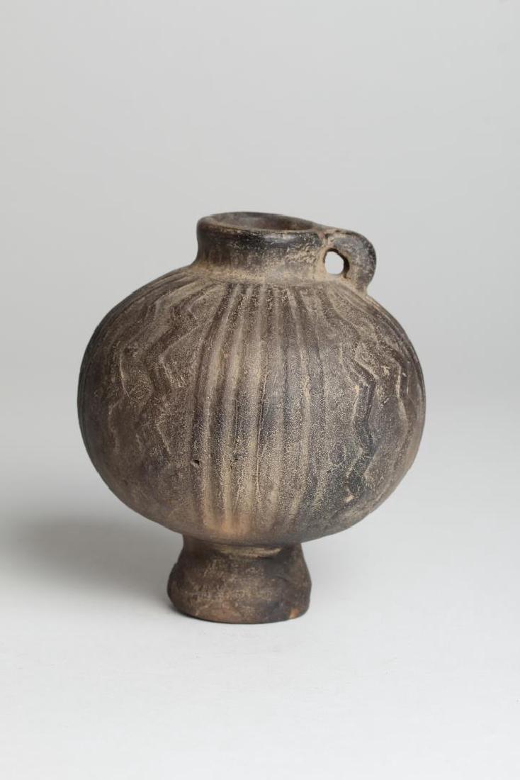 Archaic Small Black Pottery Jug - 5
