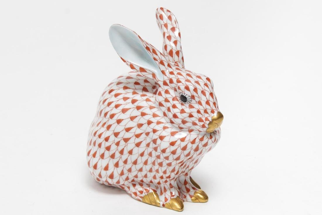 Herend Hungary Porcelain Crouching Rabbit Figurine