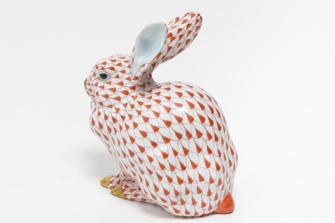 Herend Hungary Porcelain Crouching Rabbit Figurine - 3