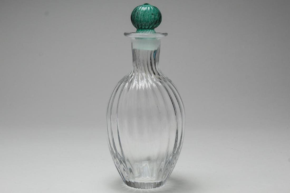 Crystal Ribbed Decanter, Colorless & Green