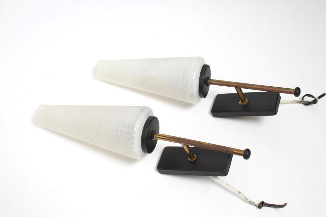 Mid-Century Modern Glass & Brass Sconces, Pair