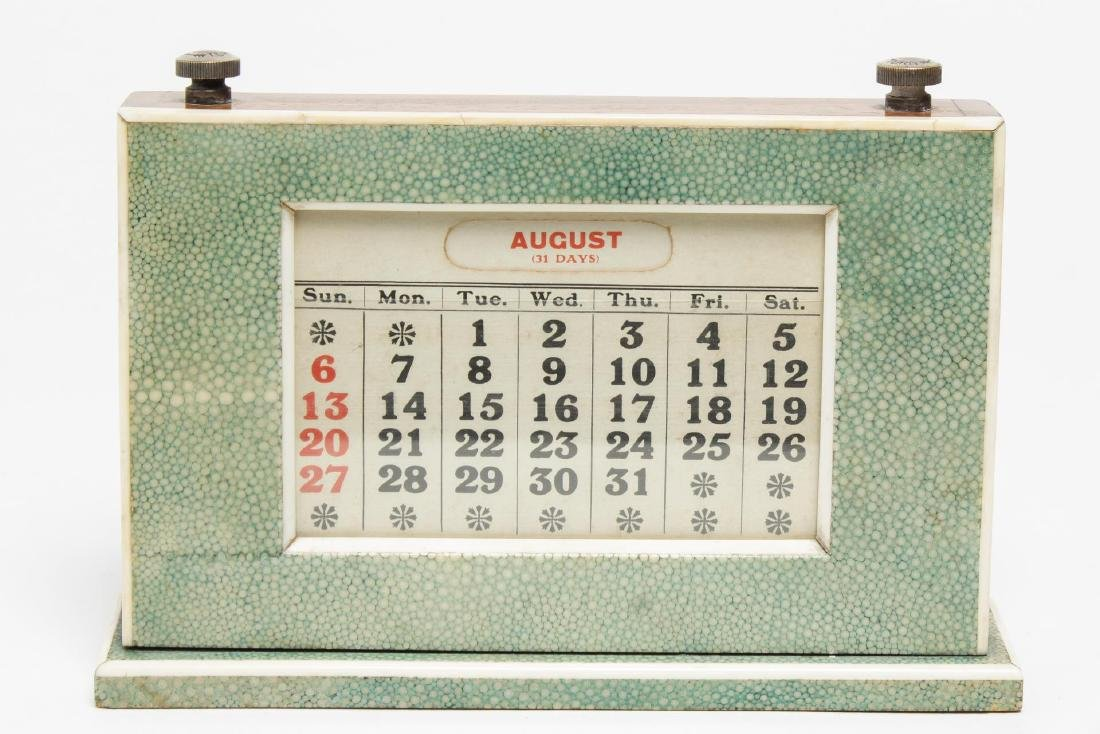 English Art Deco Shagreen Perpetual Calendar
