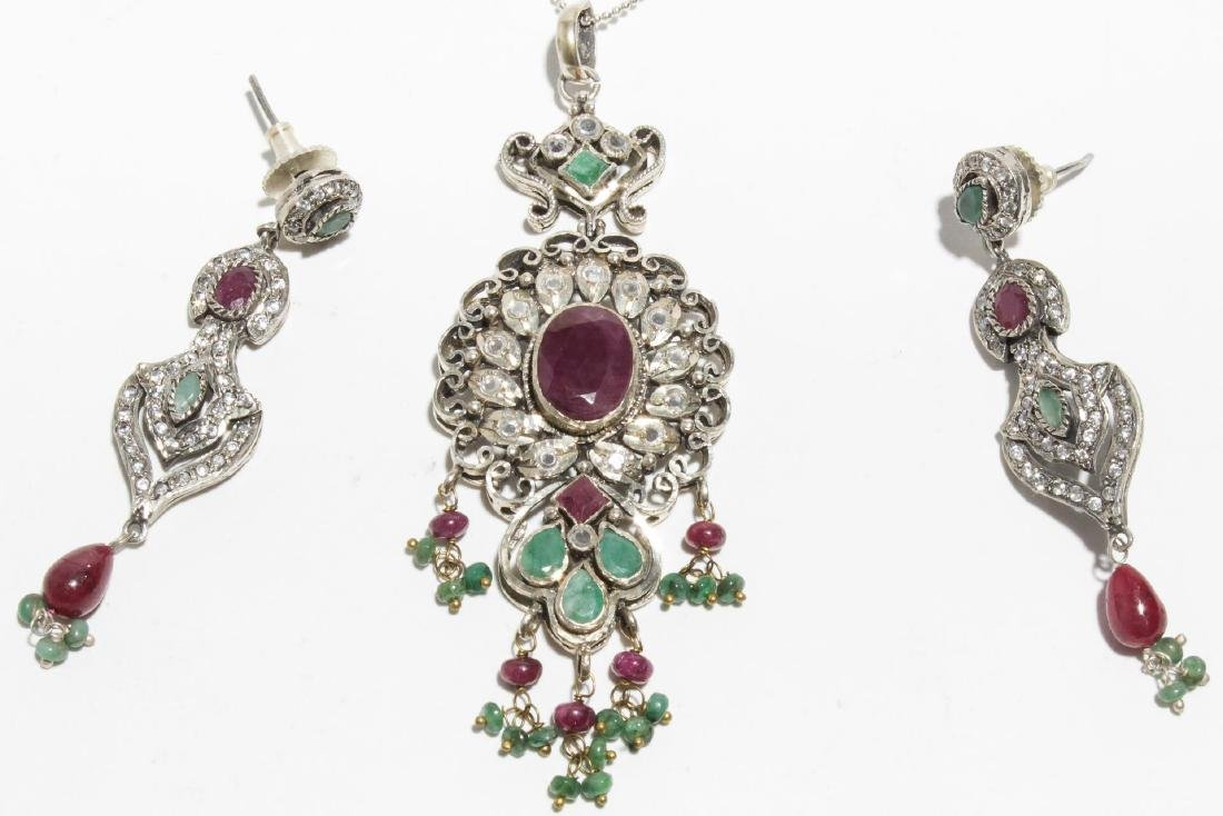 Ruby, Emerald, & Sterling Silver Jewelry Suite
