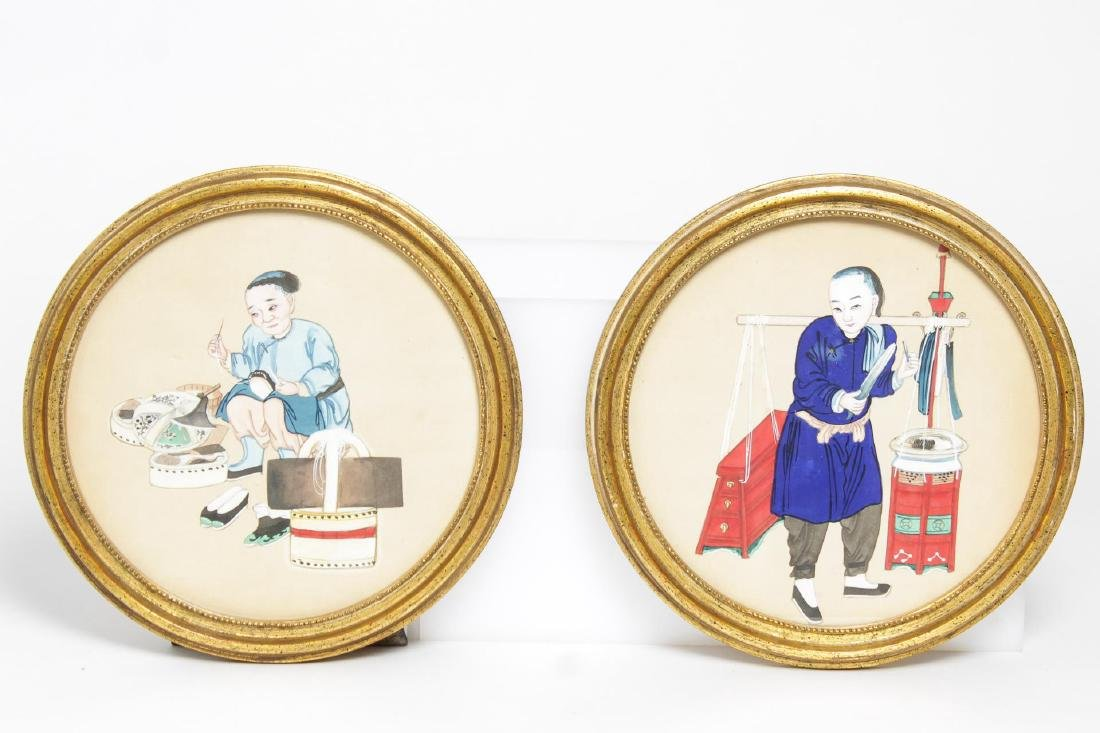Chinese Export Pith Paper Watercolors, 19th C., 2