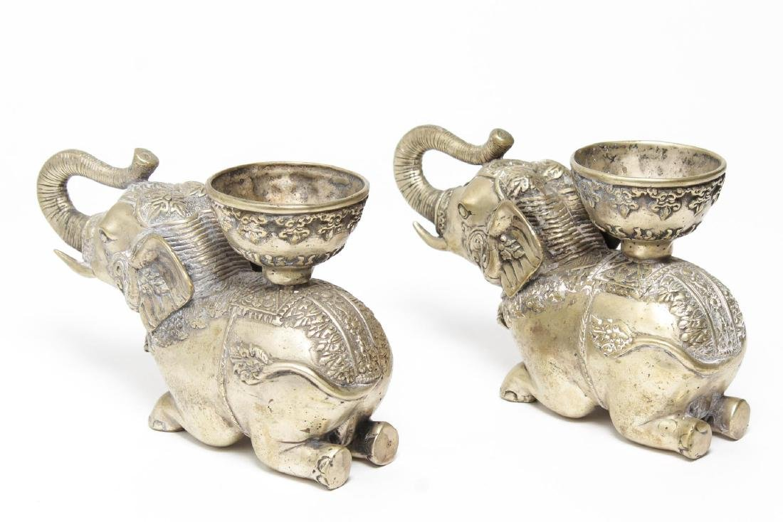 Asian Elephant Candle Holders, 2 Silver-Tone Metal - 2