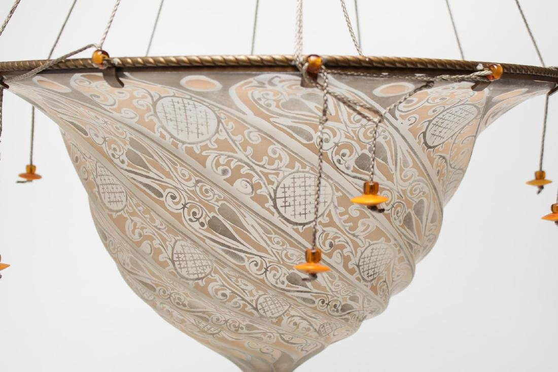 Fortuny Hanging Light Shade, in Hand-Painted Glass - 2