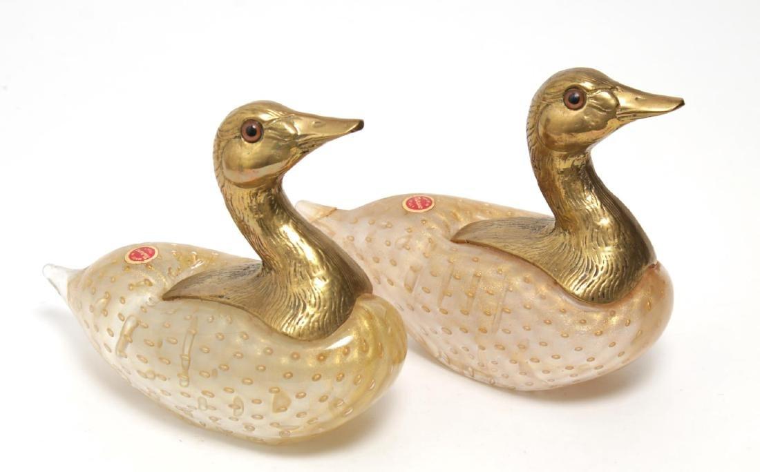 Venetian Murano Art Glass Ducks w Gilt Brass Heads