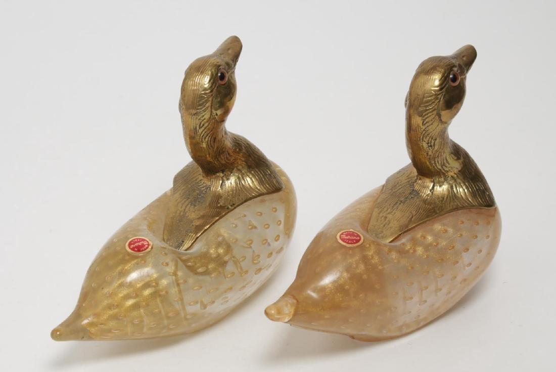 Venetian Murano Art Glass Ducks w Gilt Brass Heads - 3