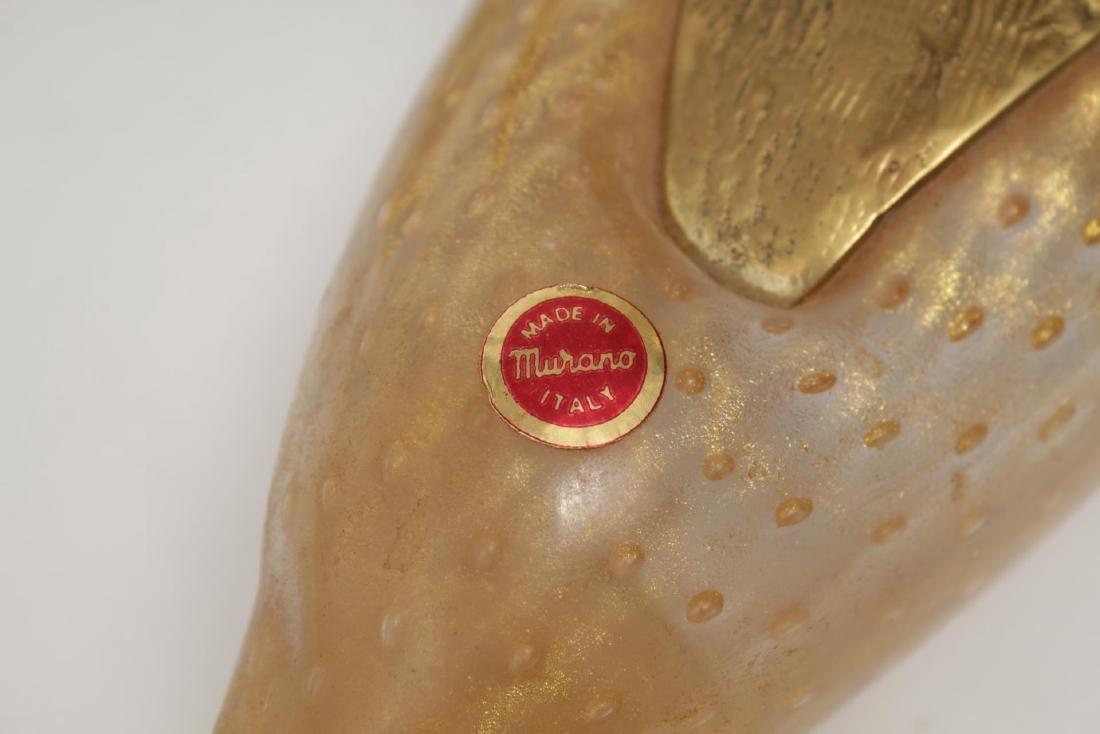 Venetian Murano Art Glass Ducks w Gilt Brass Heads - 6