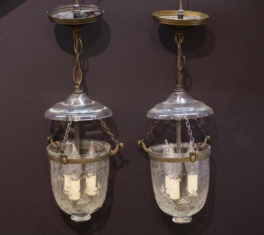 Hallway Lanterns in Etched Glass & Brass, Pair