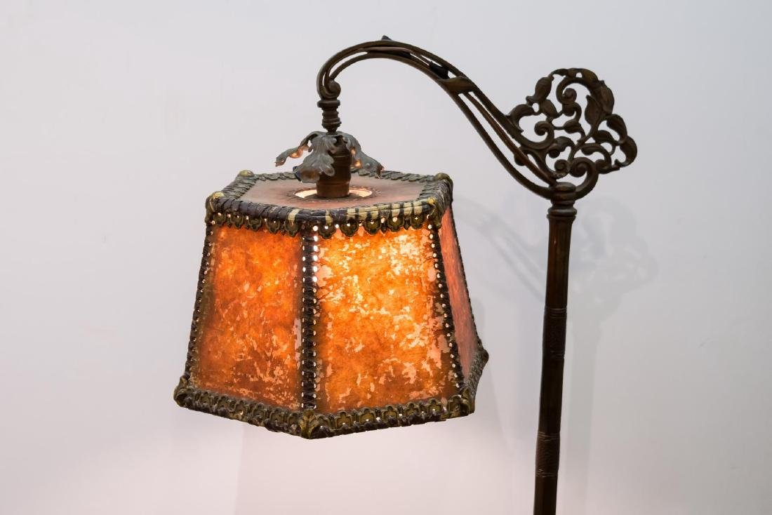 Art Nouveau Mica Shade Iron Standing Lamp - 2