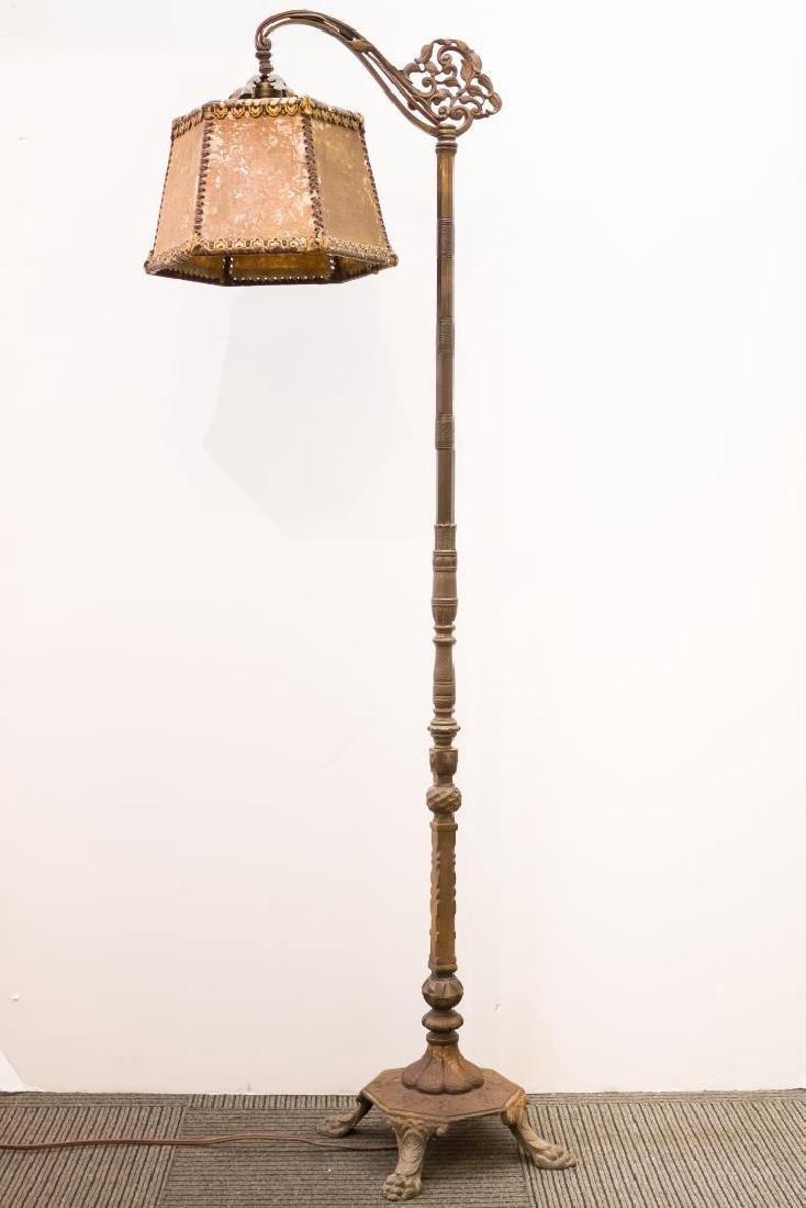 Art Nouveau Mica Shade Iron Standing Lamp - 3