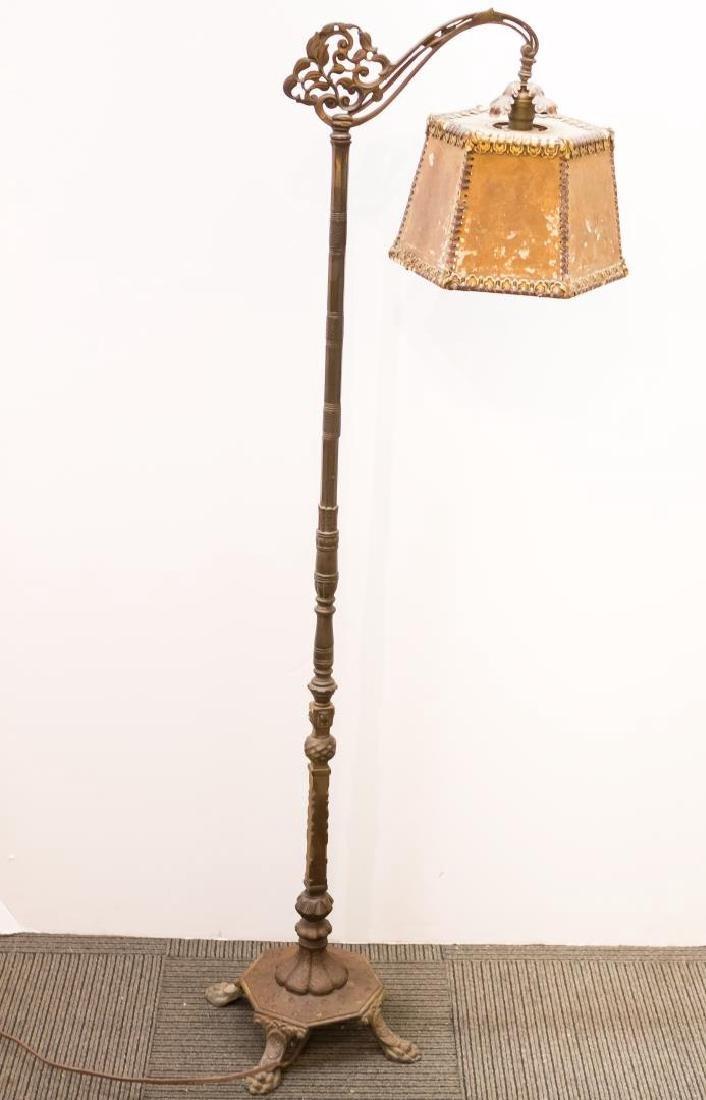 Art Nouveau Mica Shade Iron Standing Lamp - 5
