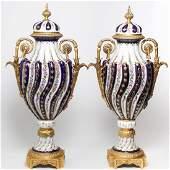 Sevres Manner OrmoluMounted Porcelain Floor Vases