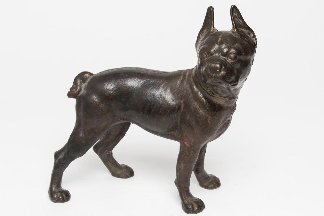 Cast Iron Doorstop, Boston Terrier Dog, Unpainted