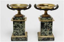 Neoclassical Gilt Bronze Tazzas on Marble Plinths