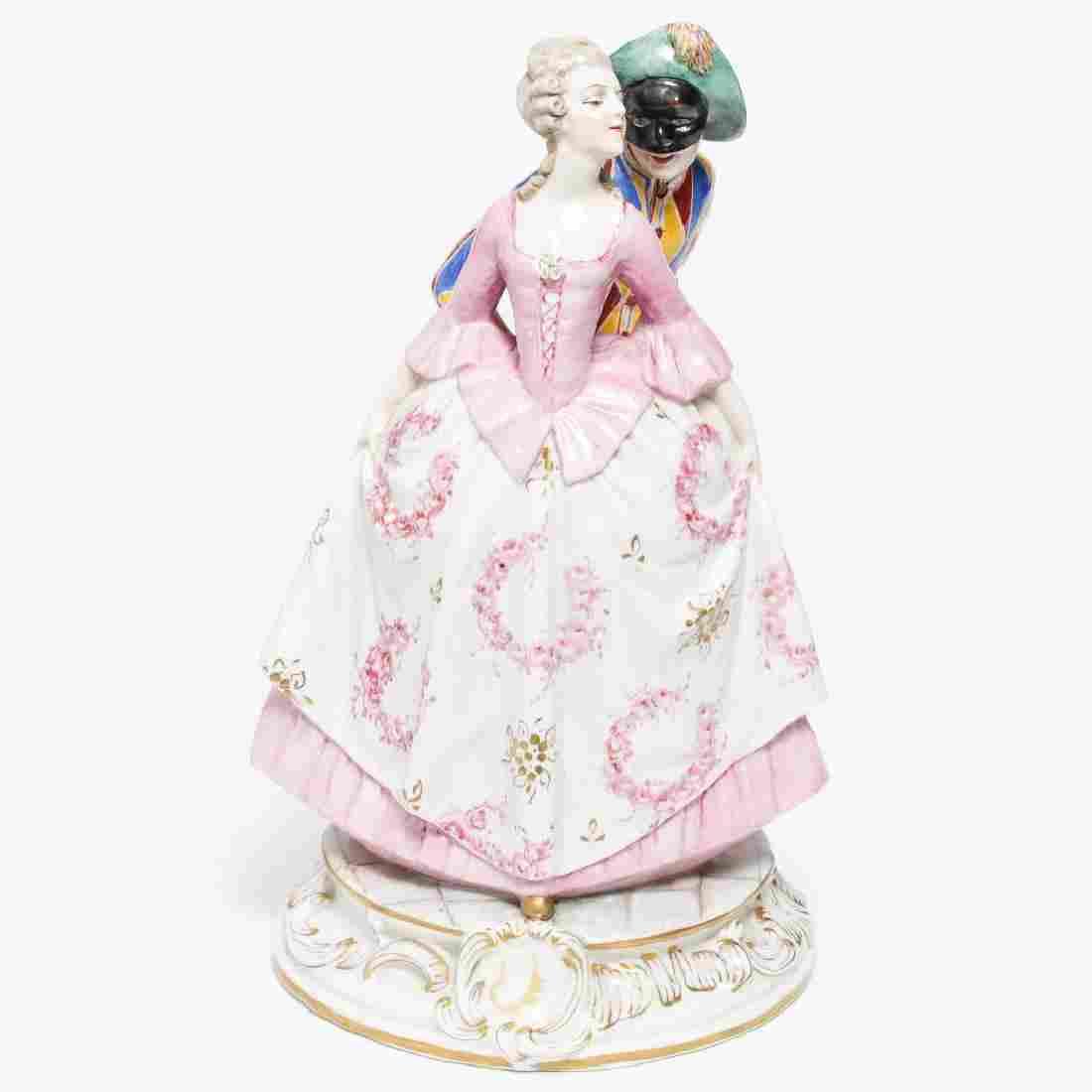 Capodimonte Harlequin & Lady Porcelain by L Fabris