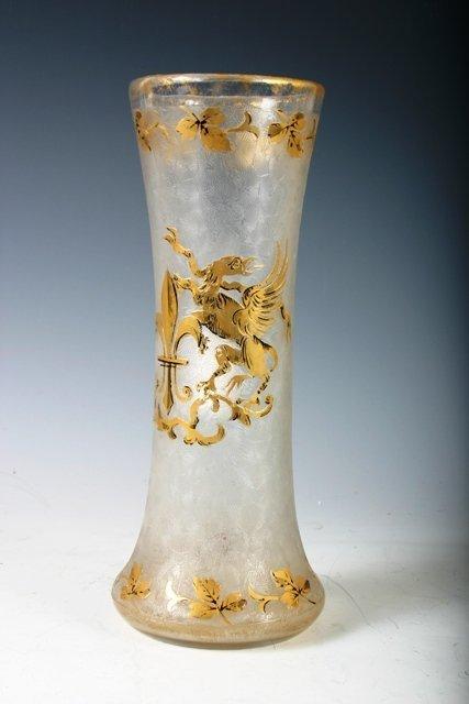804: 19th C German Vase with Gold Fleur de Lys Detail