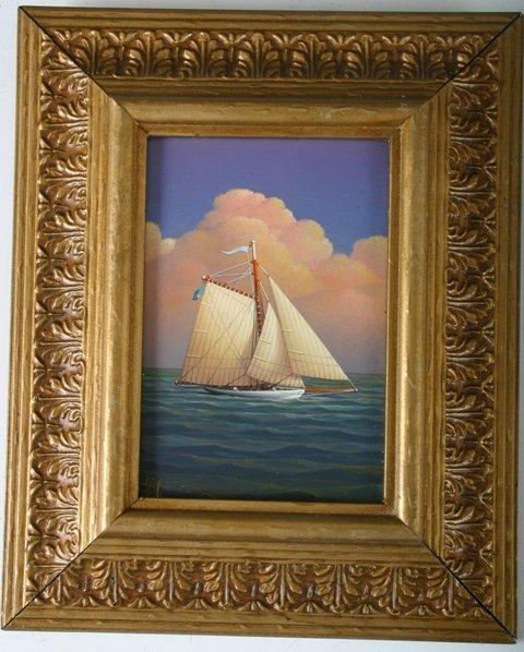 808: G.Nemethy American Mixed Media Maritime Painting