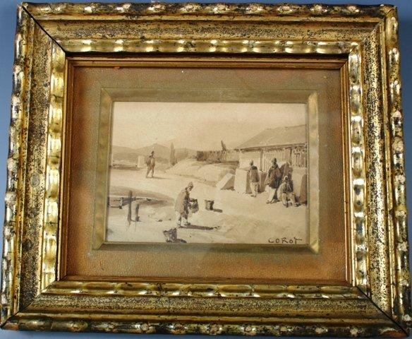 811: Corot North African Scene Watercolor on Board