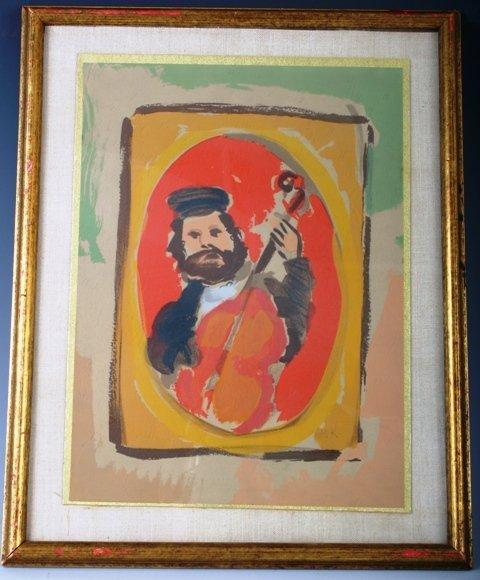 812: M. Katz Judaica Violinist Pastel
