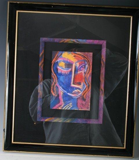 814: Mixed Media Pastel Female Portrait c1990s