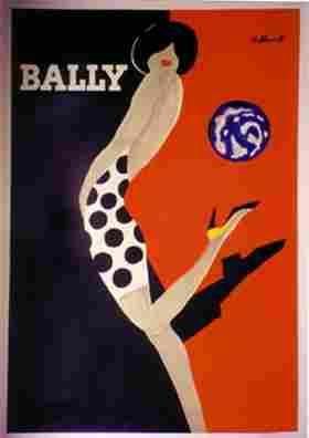 1166: Bernard VILLEMOT Bally  woman in polka dot dress