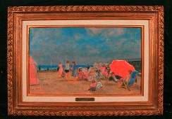 1277 Francois Gall Plage de Trouville Oil on Canvas