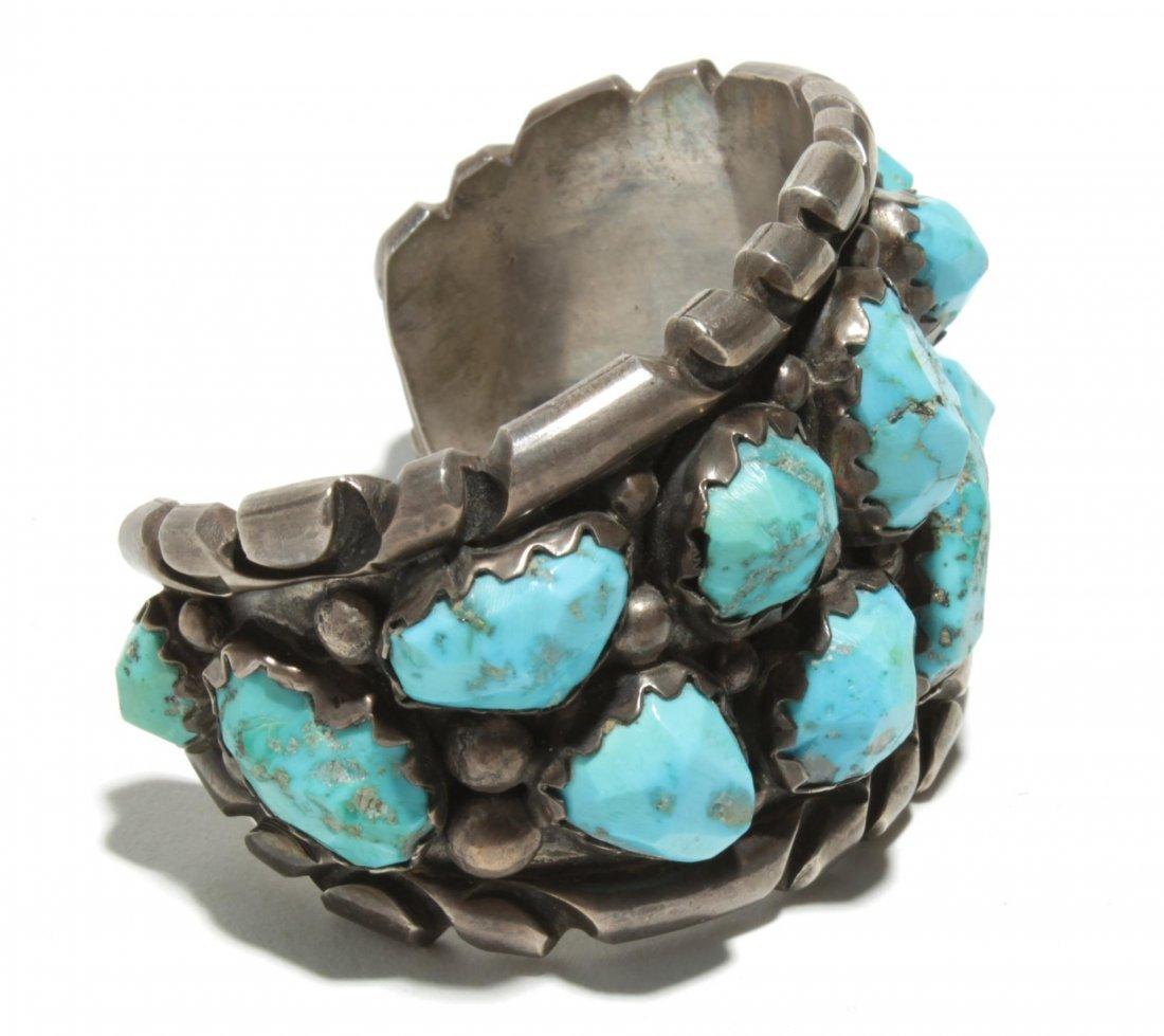 Wayne Cheama Zuni Silver & Turquoise Cuff Bracelet